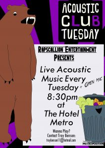 Acoustic Club every Tuesday from 8pm