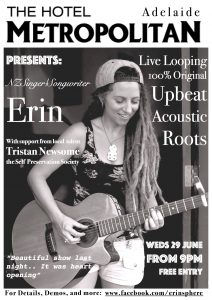 Erin Crowley + The Self Preservation Society Wed 29 June