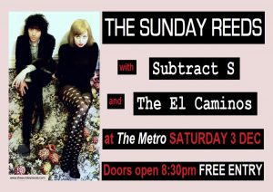 The Sunday Reeds (Mel), Subtract S + El Caminos Ssat 3 Dec