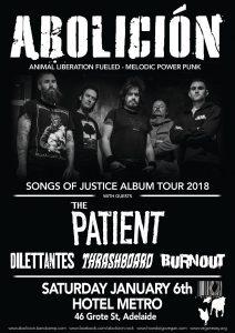 Abolición (VIC), The Patient (VIC), Dilettantes, Thrashboard + Burnout Sat 6 Jan