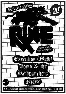 RIXE *france / Execution *melb / Bomo & the Hardpunchers / Nylex Thurs 26 April