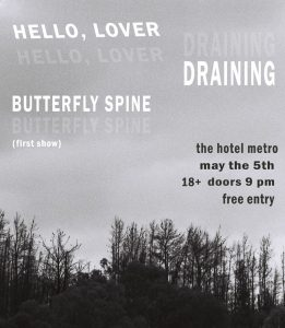 Hello, Lover with DRAINING and Butterfly Spine Sat 5 May