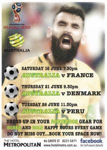 World Cup: Socceroos v Peru tues 26 June 11.30pm