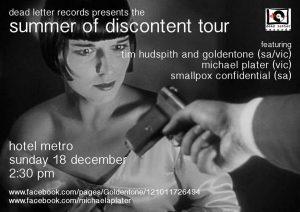 Goldentone, Smallpox Confidential + Michael Plater Sun 18 Dec 3pm
