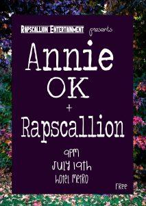 Annie OK - Annie Siegmann Music and Rapscallion at The Hotel Metro on July 19th.