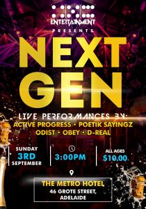 456 Entertainment Presents: Next Gen - All Ages - LIVE HIP HOP Sun 3 Sept