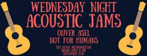 Wednesday Night Acoustic Jams w/ Oliver Asel & Not For Humans Wed 15 Nov