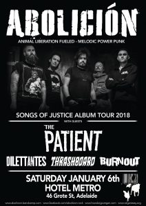 Abolición (VIC), The Patient (VIC), Dilettantes, Thrashboard + Burnout Sat 6 Jan