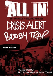 """All In 7"""" Launch with Booby Trap & Crisis Alert. Free Entry! Sat 24 Mar"""