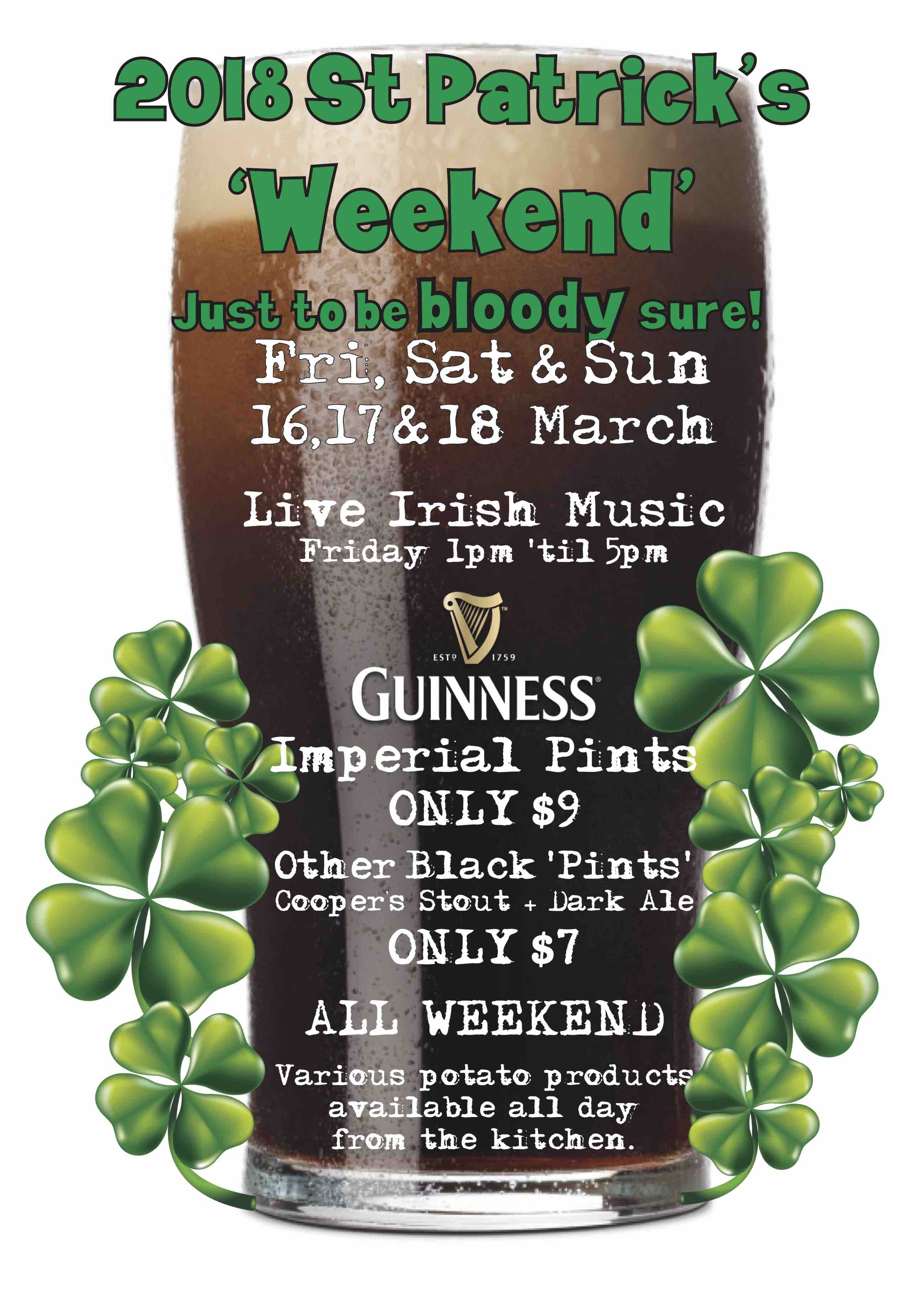 St Patrick's Weekend at The Metro 16,17 & 18 Mar