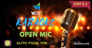 Karaoke Open Mic WEST 1 Adelaide Wed 26 Sept